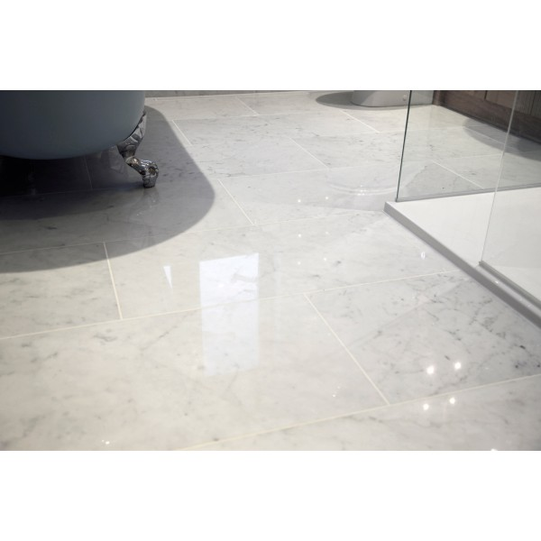 Bianco Carrara White Polished Marble Tiles for Floors and Walls
