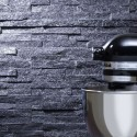 Black SPARKLY QUARTZ Split Face Cladding Mosaic Tiles for Walls