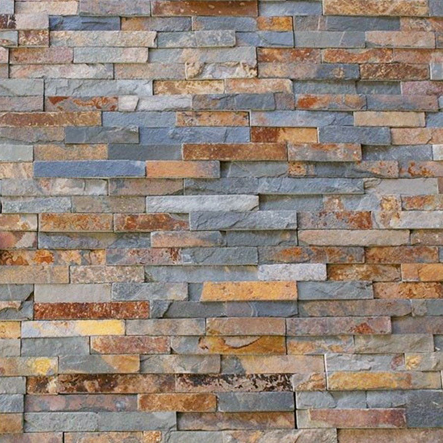 Split face multi colour rusty slate natural stone cladding for Split wall