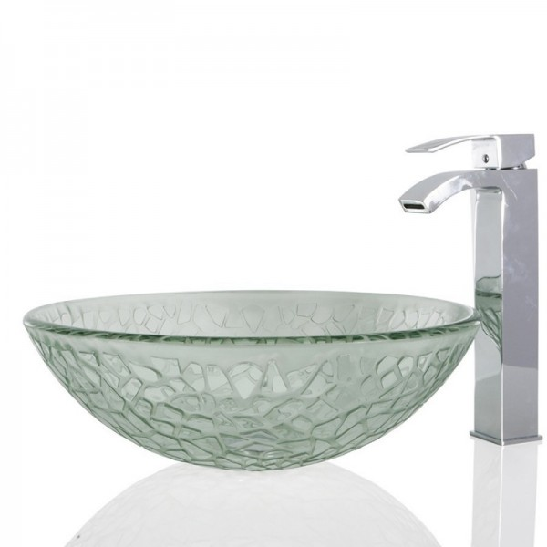 Clear Glass Round Wash basin / Sink - 42cm + Free Waste