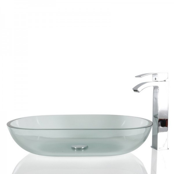 Clear Glass Oval Wash basin / Sink - 57cm + Free Waste