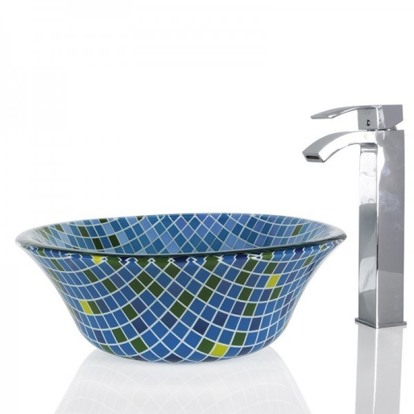 Blue Squares Glass Round Wash basin / Sink - 40cm + Free Waste