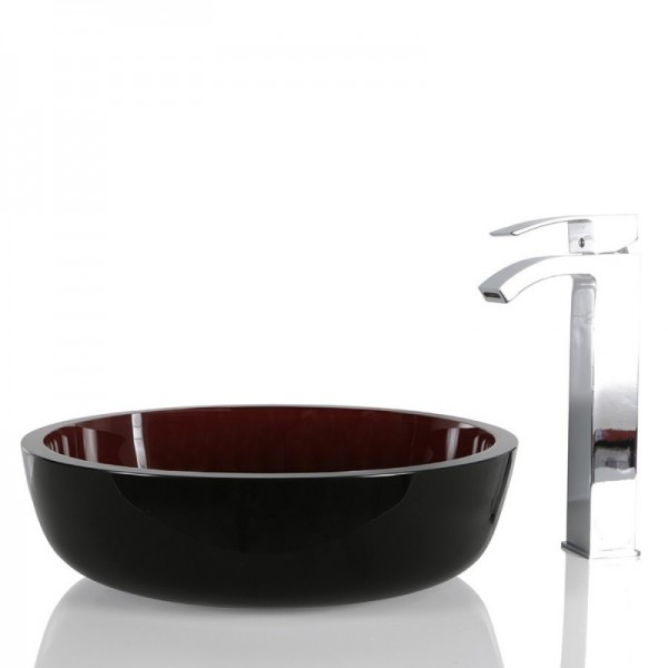 Black & Red Glass Round Wash basin / Sink - 42cm + Free Waste