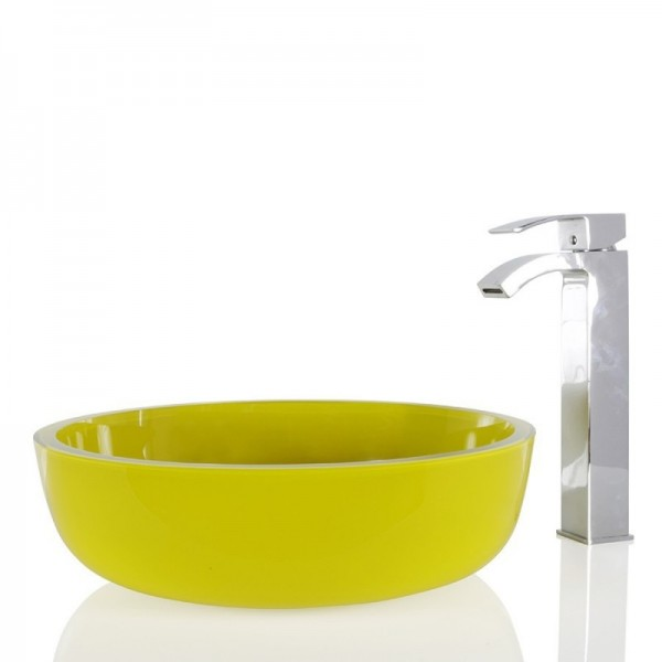 Yellow Glass Round Wash basin / Sink - 42cm + Free Waste