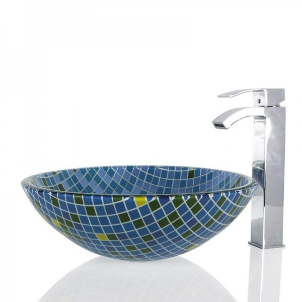Blue Squares Glass Round Wash basin / Sink - 42cm + Free Waste