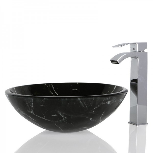 Black Glass Round Wash basin / Sink - 42cm + Free Waste