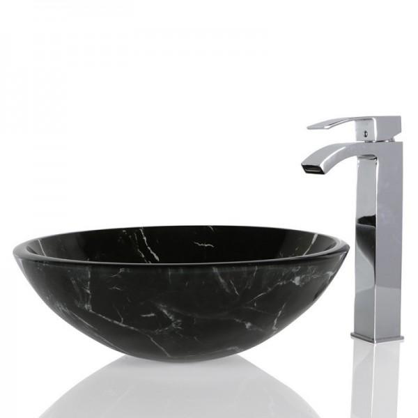 Black Glass Round Wash basin / Sink - 42cm + Free Waste