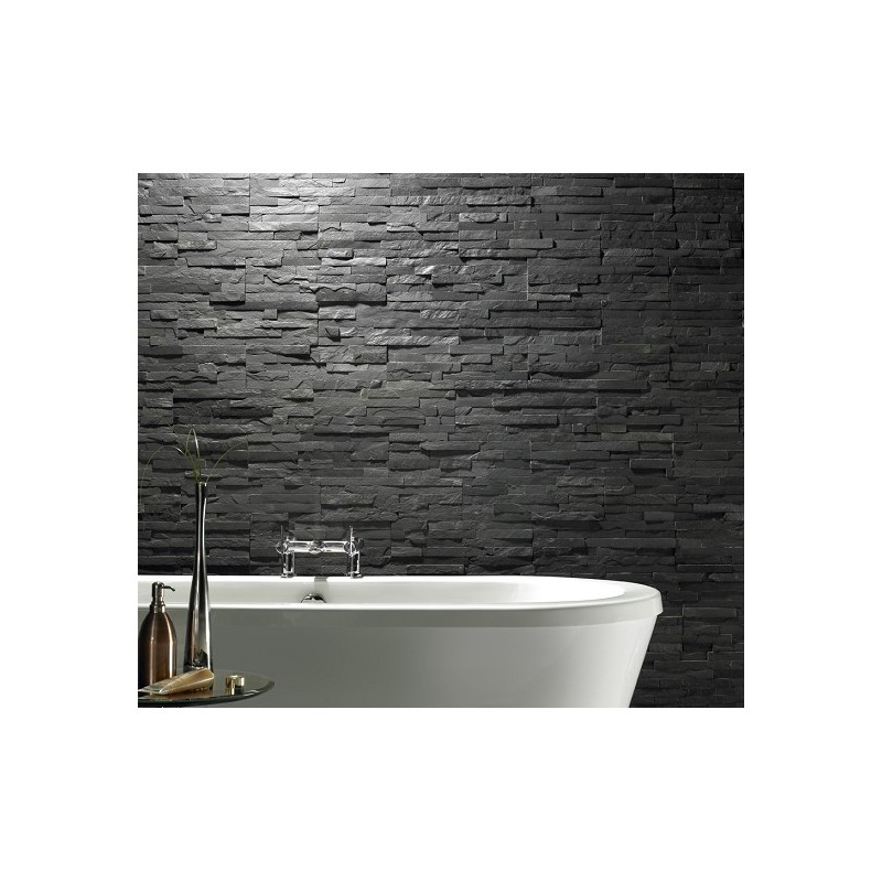 Slate Stone Elevation : Black slate split face cladding mosaic tiles for walls
