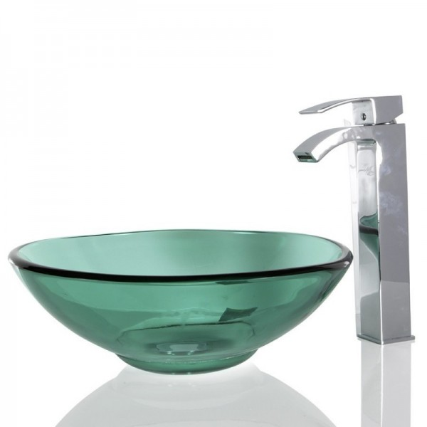 Turquoise Green Glass Round Wash basin / Sink - 40cm + Free Waste