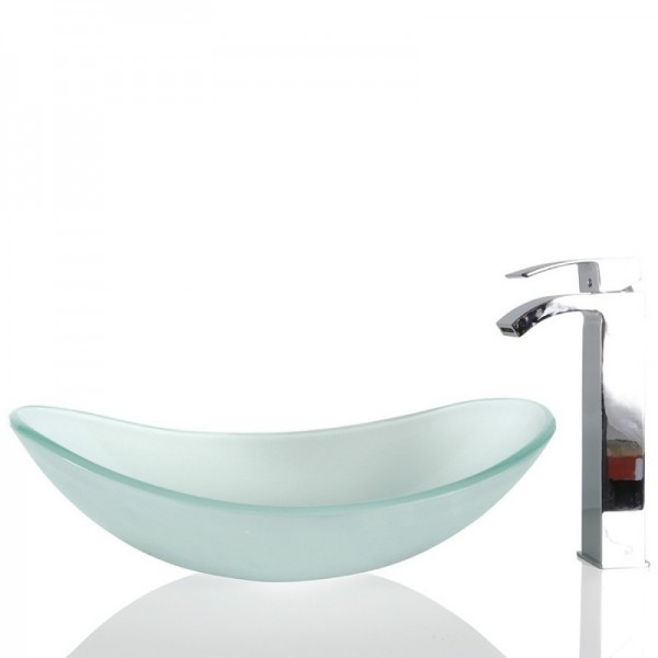 Frosted Glass Oval Wash basin / Sink - 54cm + Free Waste