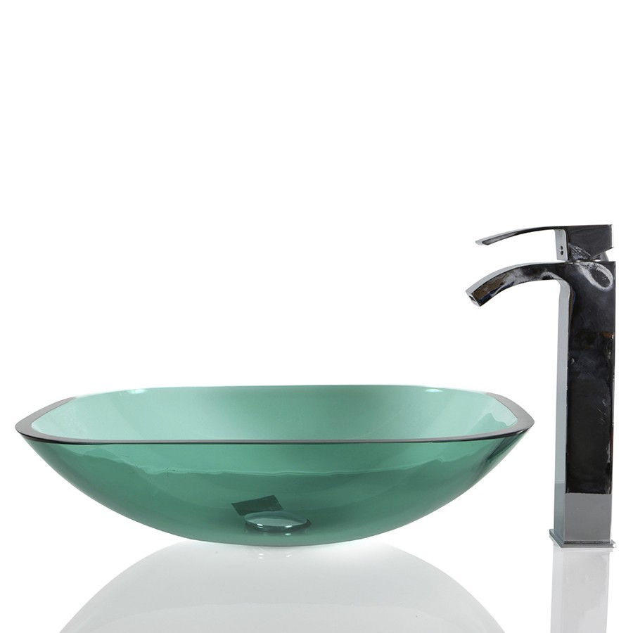 turquoise green glass rounded square wash basin sink 48cm free waste - Wash Basin Sink