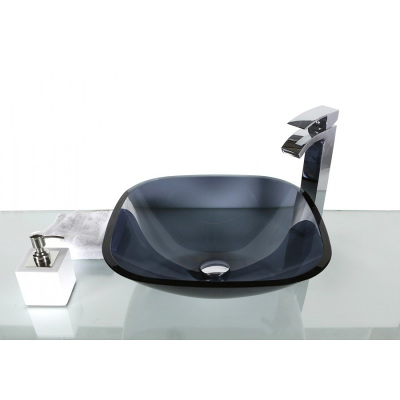 Dark Blue Glass Rounded Square Wash Basin Sink 42cm