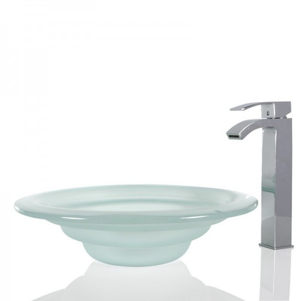 Frosted Glass Round Wash basin / Sink - 45cm + Free Waste
