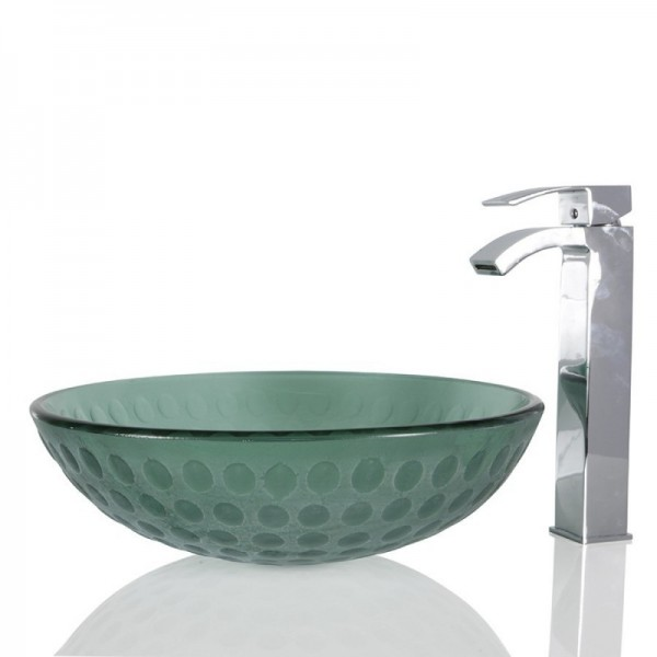 Turquoise Green Glass Round Wash basin / Sink - 42cm + Free Waste