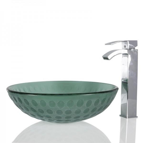 Turquoise Green Glass Round Wash basin / Sink - 42cm + Free Waste