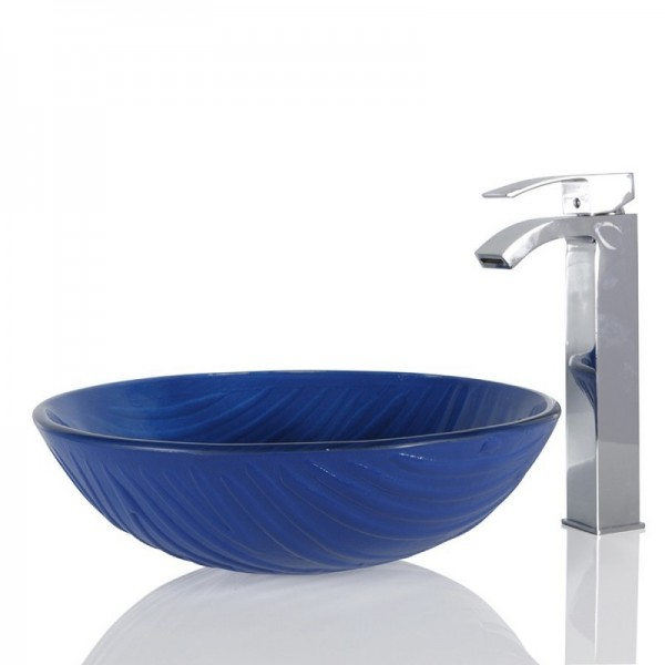 Blue Glass Round Wash basin / Sink - 42cm + Free Waste