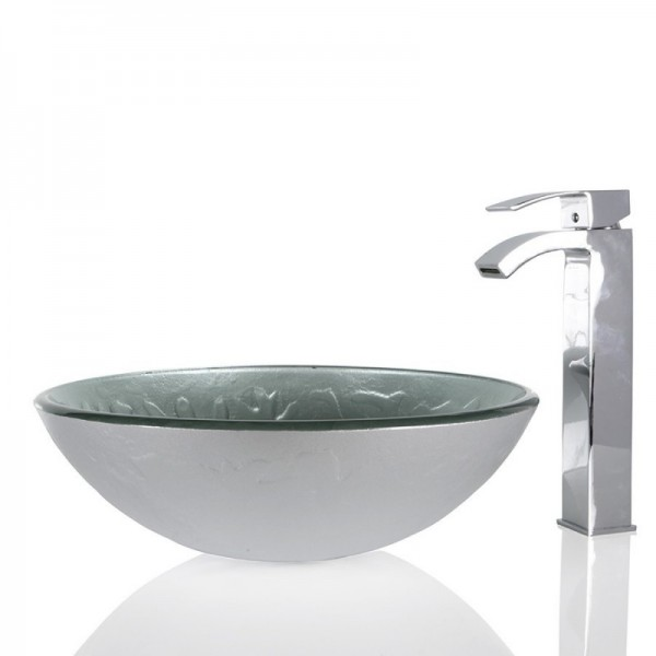 Silver Glass Round Wash basin / Sink - 42cm + Free Waste