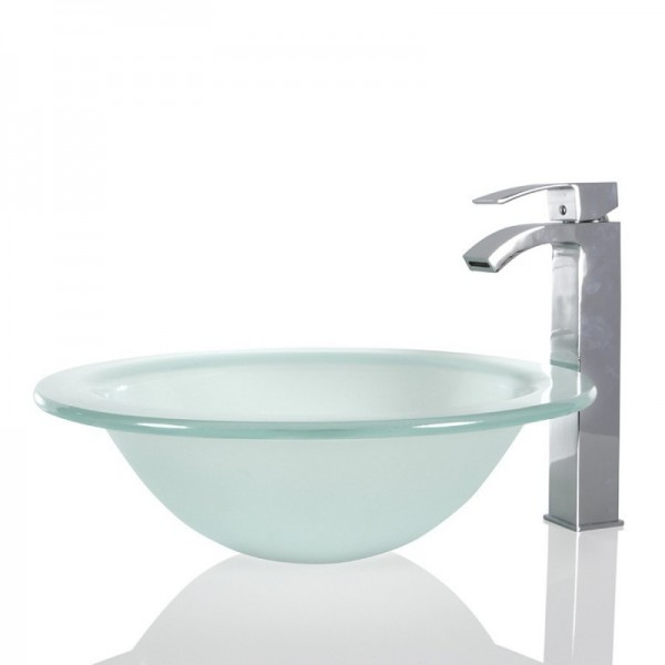 Frosted Glass Round Wash basin / Sink - 44cm + Free Waste