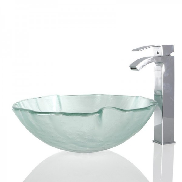 Frosted Glass Round Wash basin / Sink - 42cm + Free Waste
