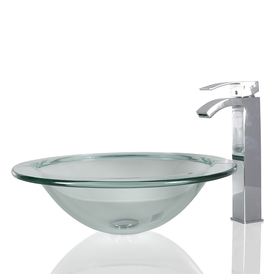 Clear Glass Round Wash basin / Sink - 44cm + Free Waste