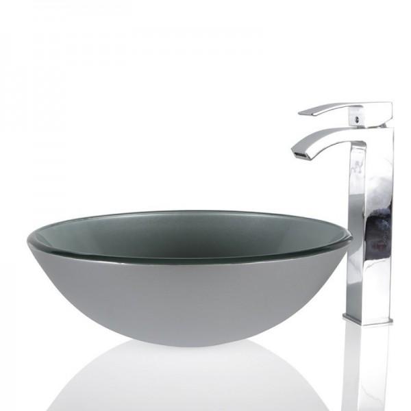 Silver Glass Round Wash basin / Sink - 51cm + Free Waste