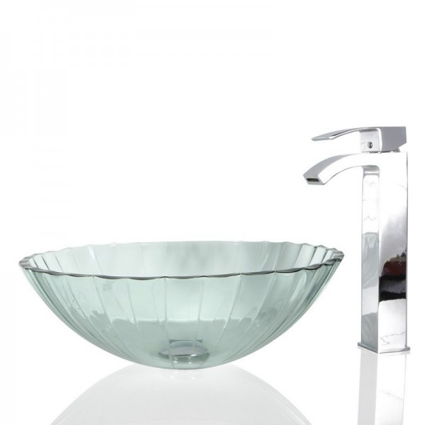 Glass  Round Wash basin / Sink - 41cm + Free Waste