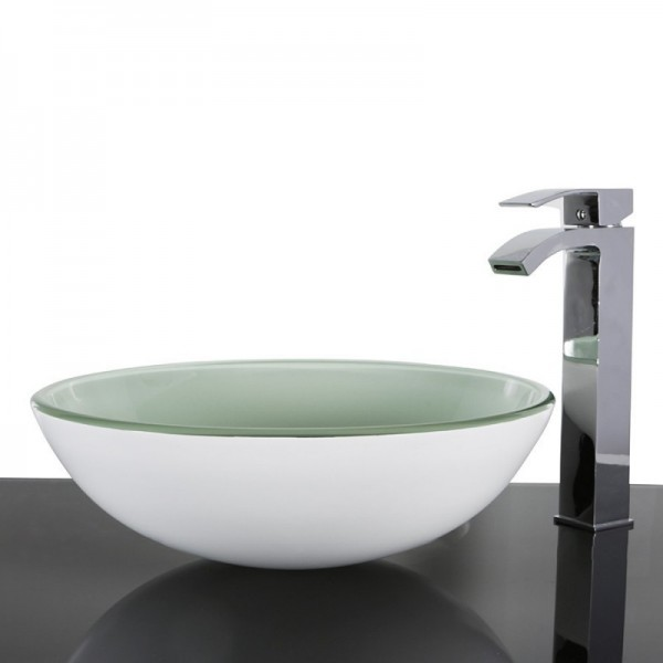 White Glass Round Wash basin / Sink - 42cm + Free Waste