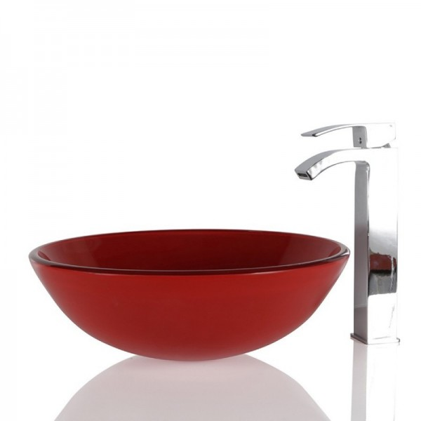 Red Glass Round Wash basin / Sink - 42cm + Free Waste