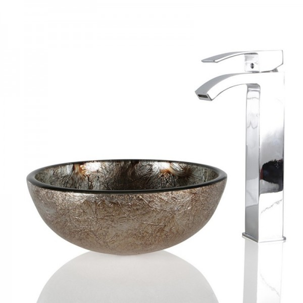 Bronze Glass Round Wash basin / Sink - 30cm + Free Waste