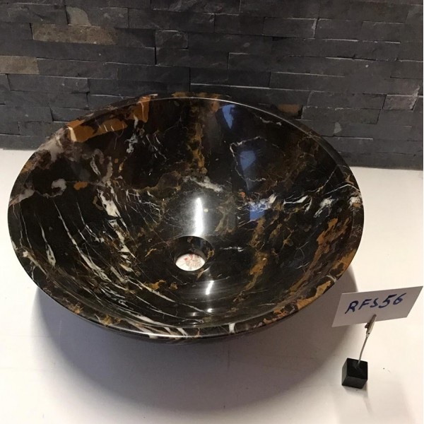 Black and Gold Marble Stone Wash Basin / Sink