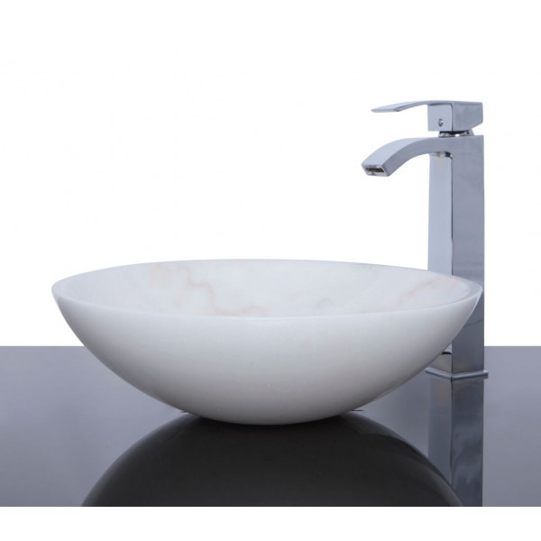 White Marble Stone Round Wash Basin / Sink + FREE WASTE