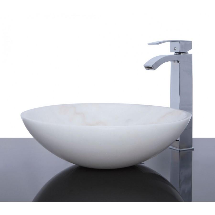 white marble stone round wash basin sink free waste - Wash Basin Sink