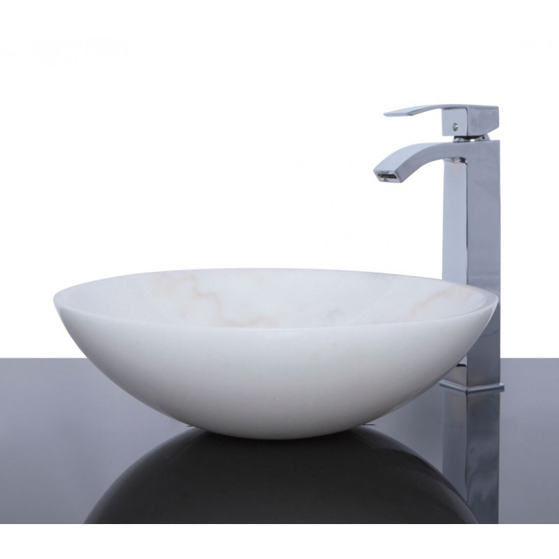 White Stone Sink : Sinks > Marble Sinks > White Marble Stone Round Wash Basin / Sink ...