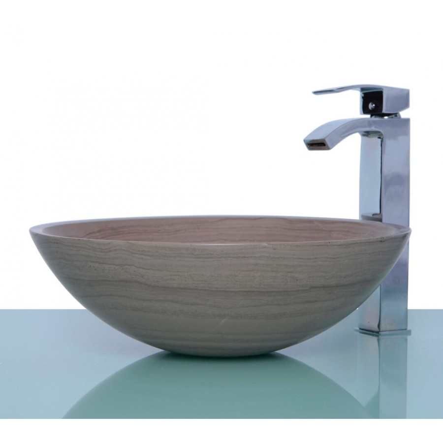 Wooden Grey Marble Stone Round Wash Basin / Sink + FREE WASTE
