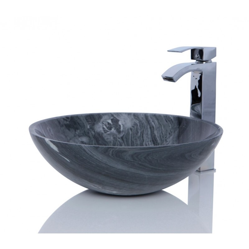 Ancient Wood Marble Stone Round Wash Basin Sink Free