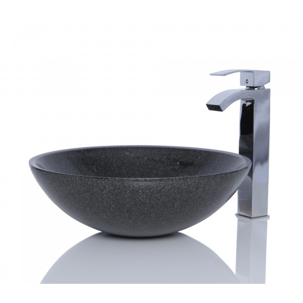 Dark Grey Granite G654 Stone Round Wash Basin / Sink - L 42 x H 14 cm