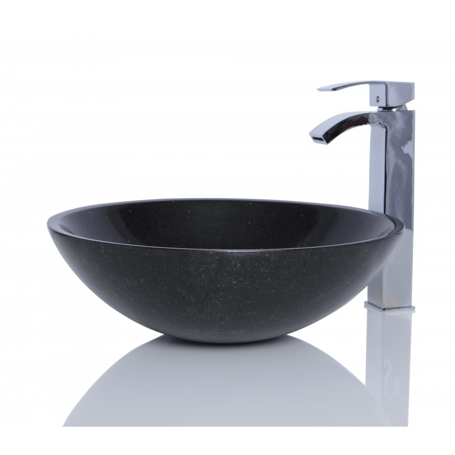 Black Galaxy Granite Stone Round Wash Basin / Sink - L 42 x H 14 cm
