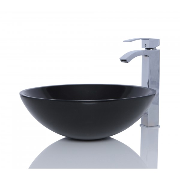 Black Granite Stone Round Wash Basin / Sink - L 42 x H 14 cm