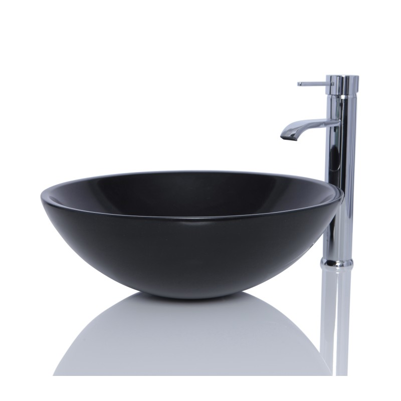 Black Granite Stone Round Wash Basin Sink Free Waste