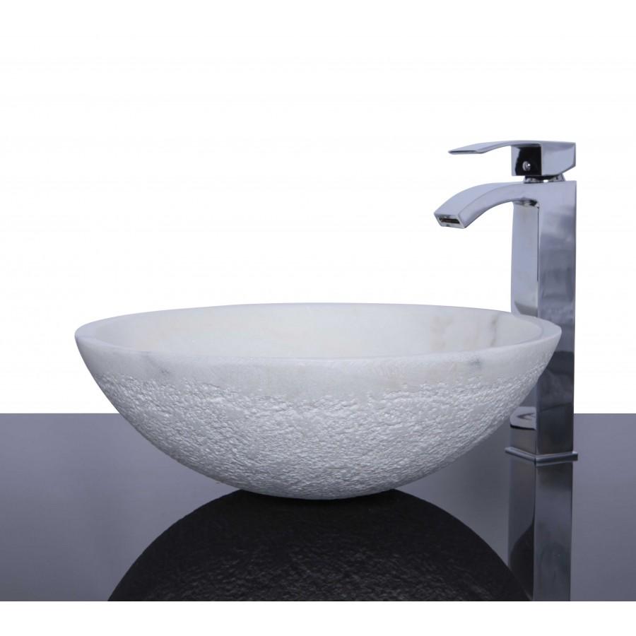 White Marble Stone Round Wash Basin / Sink -  L 42  x H 14 cm