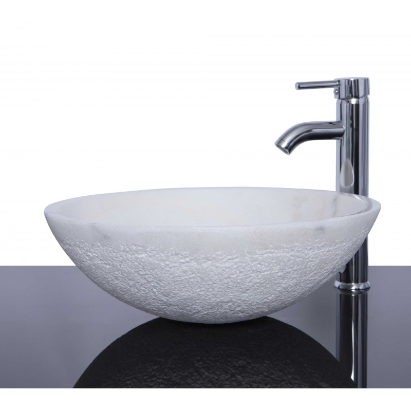 White Marble Stone Round Wash Basin Sink Free Waste