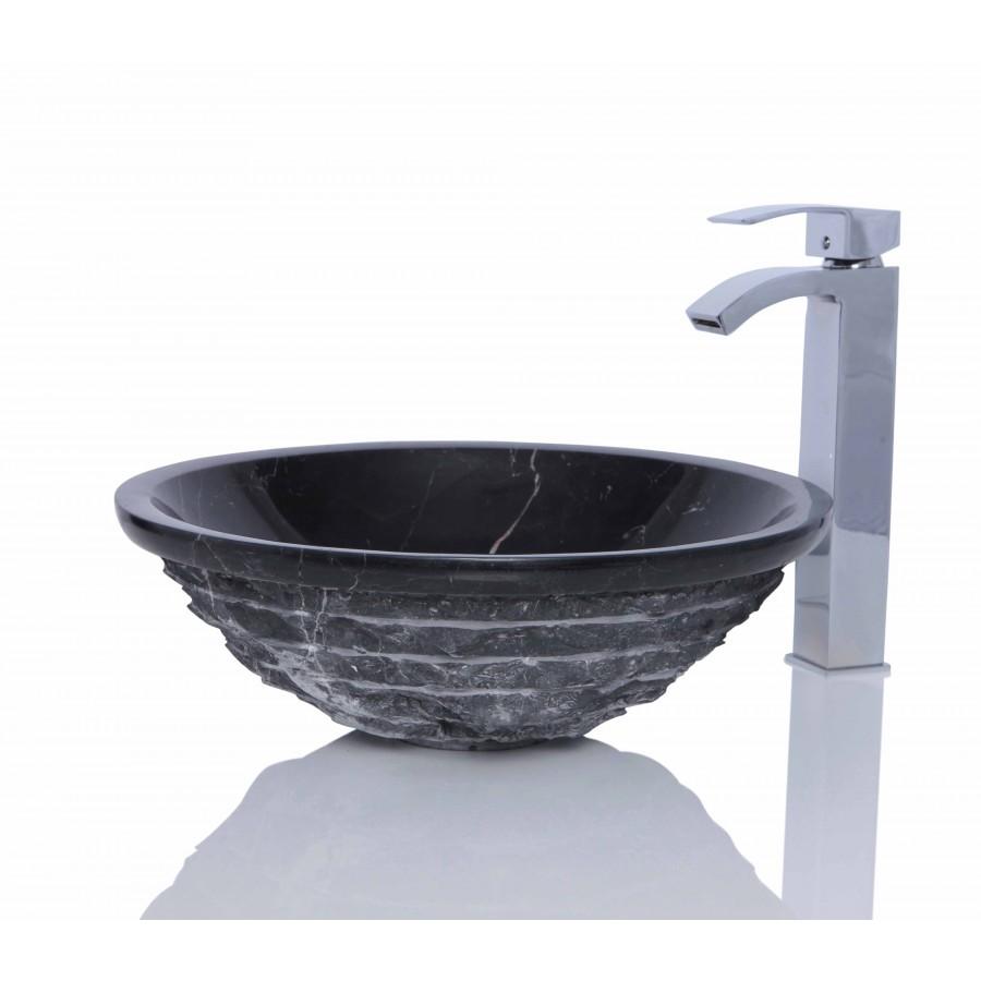 Black Marble Nero Marquina Stone Round Wash Basin / Sink -  L 42  x H 14 cm