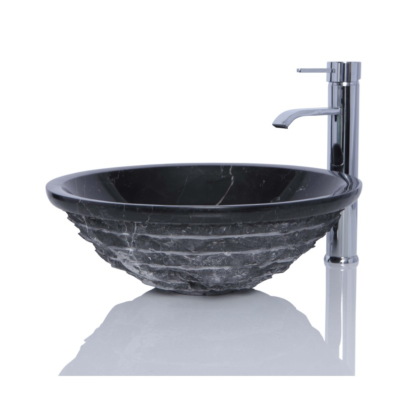 Marble Floor Sinks : Black marble nero marquina stone round wash basin sink