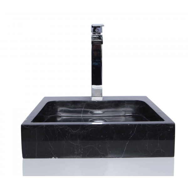 Black Marble Nero Marquina Stone Square Wash Basin / Sink + FREE WASTE