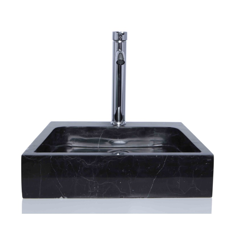 Marble Floor Sinks : Black marble nero marquina stone square wash basin sink
