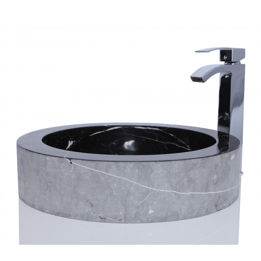 Black Marble Nero Marquina Stone Round Wash Basin / Sink -  L 48 x H 11 cm