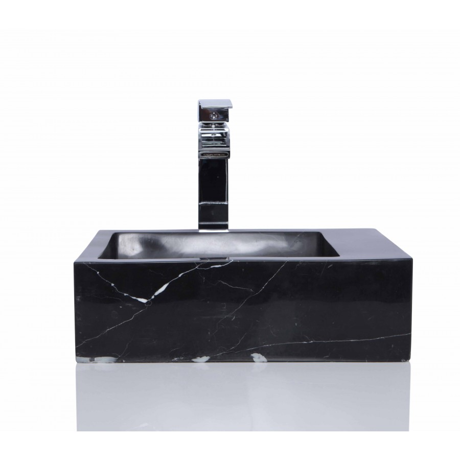 Black Marble Nero Marquina Stone Retangular Wash Basin / Sink - L 40 x W 25 x H 12 cm