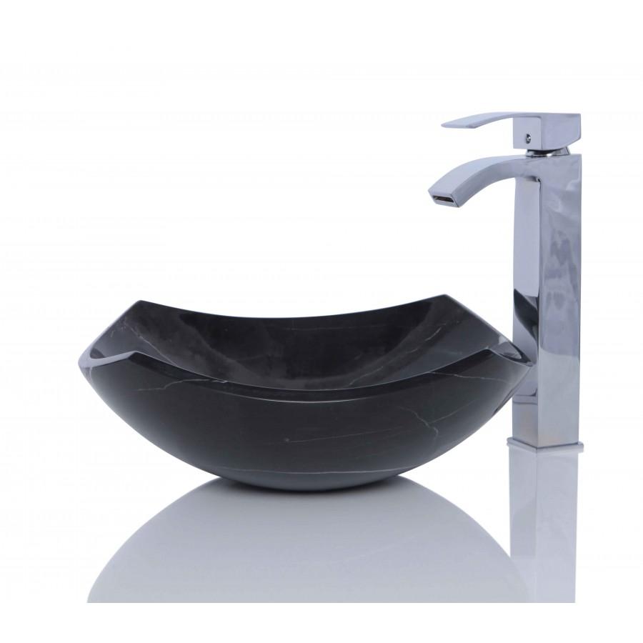 Black Marble Nero Marquina Stone Wash Basin / Sink - L 39 x W 39 x H 15 cm
