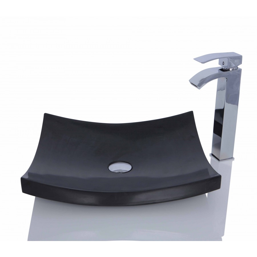 Black Granite Stone Retangular Wash Basin / Sink - L 45 x W 40 x H 11 cm