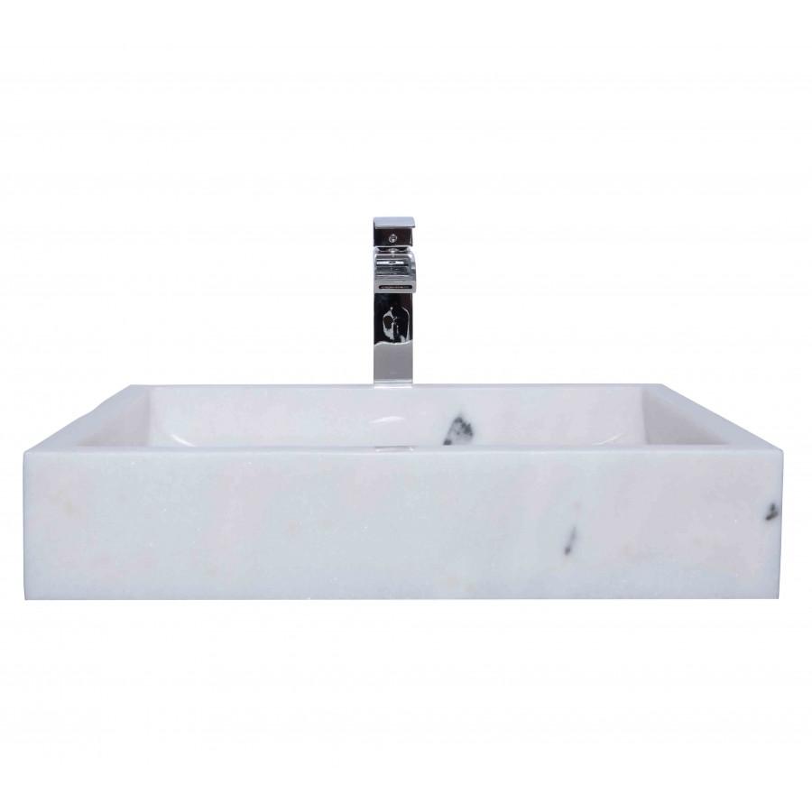 White Marble Stone Retangular Wash Basin / Sink - L 60 x W 44 x H 11 cm